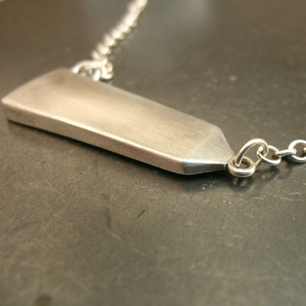 Obelisk Necklace in Sterling & Fine Silver - PartsbyNC Industrial Jewelry
