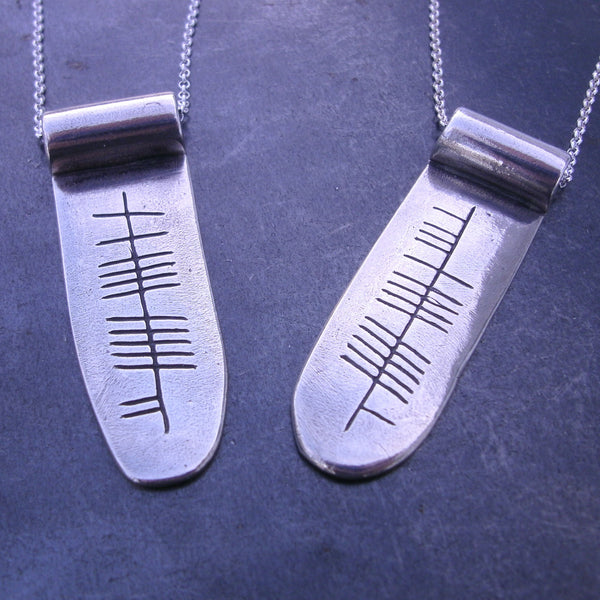 Personalized Ogham Name Scroll Pendant in Fine Silver - PartsbyNC Industrial Jewelry