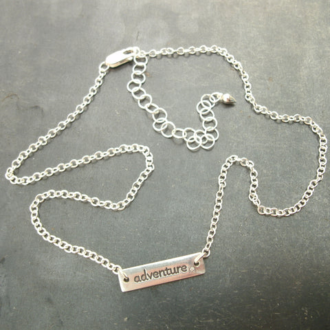 Word Necklace in Sterling & Fine Silver with Diamonds - PartsbyNC Industrial Jewelry
