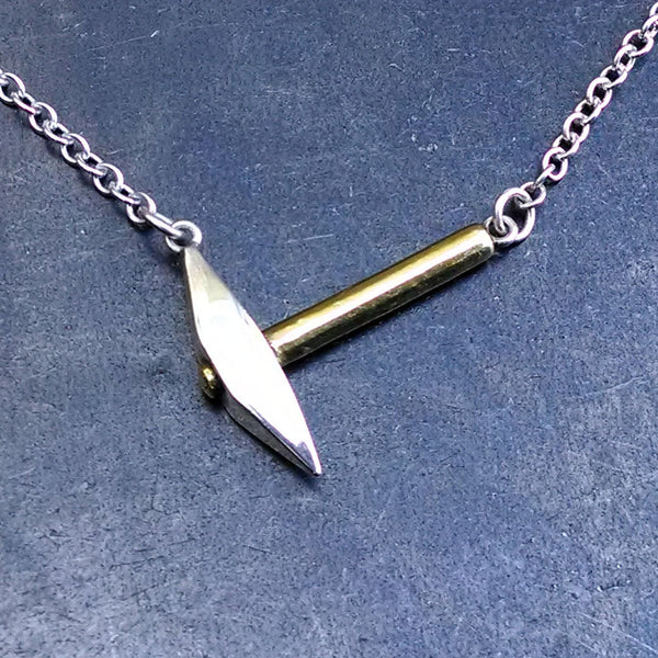 Pickaxe Necklace in Fine Silver & 22k Gold - PartsbyNC Industrial Jewelry