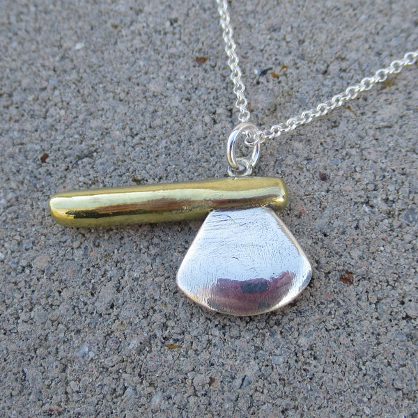 Axe Pendant in Fine Silver & 22k Gold - PartsbyNC Industrial Jewelry