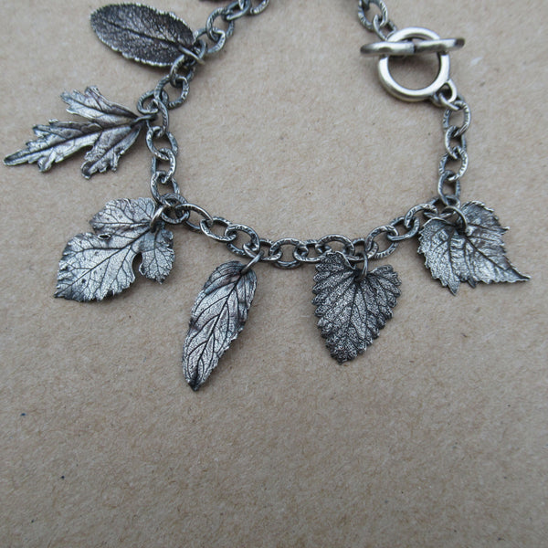 Sterling & Fine Silver Charm Bracelet Made with Real Leaves from PartsbyNC