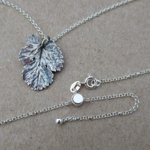 Real Mulberry Leaf Pendant on Adjustable Chain from PartsbyNC