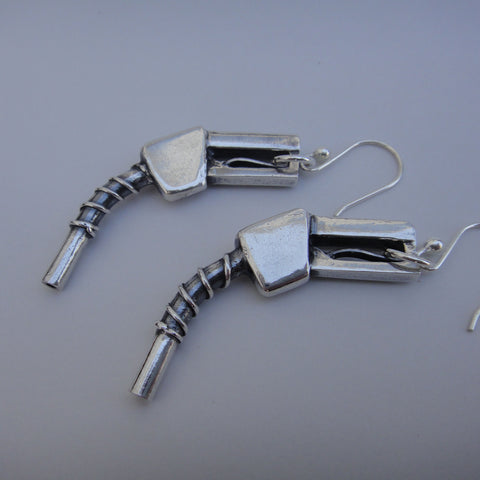 Gas Pump Earrings in Sterling Silver - PartsbyNC Industrial Jewelry