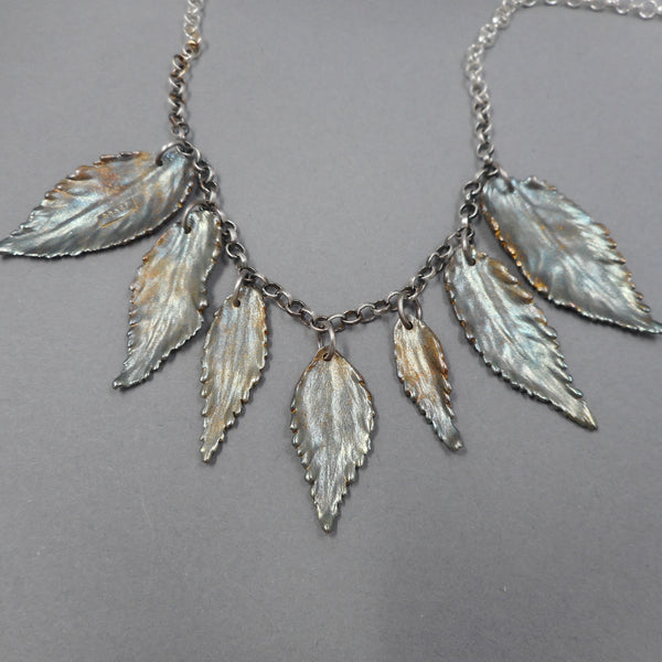 Colorful Patina Leaf Necklace from PartsbyNC