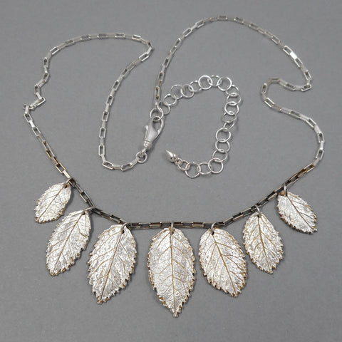 One of a Kind Rose Leaf Necklace in Sterling & Fine Silver from PartsbyNC