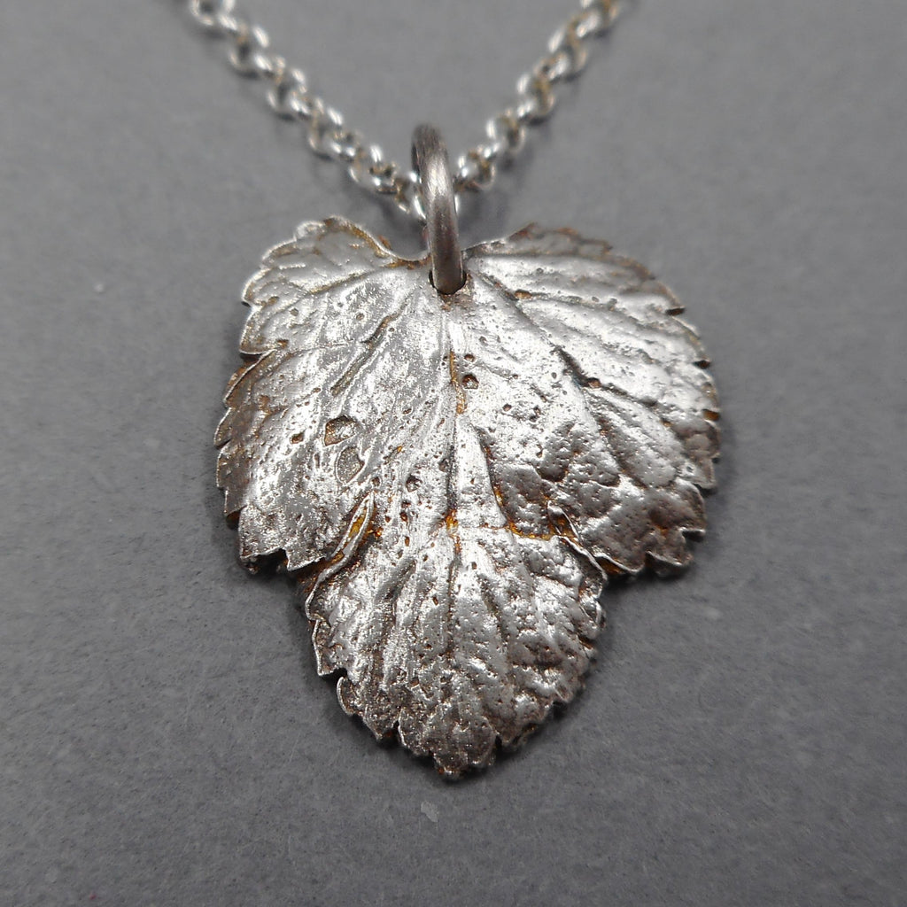 Mulberry Leaf Fine Silver Pendant from PartsbyNC