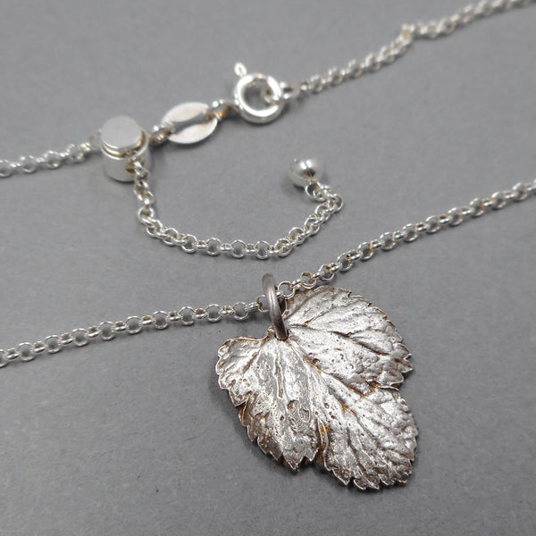 Fine Silver Mulberry Leaf Pendant on Adjustable Sterling Silver Chain