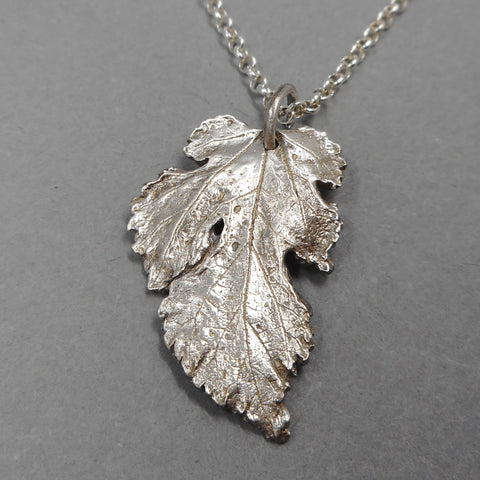 Mulberry Leaf Pendant in Fine Silver from PartsbyNC