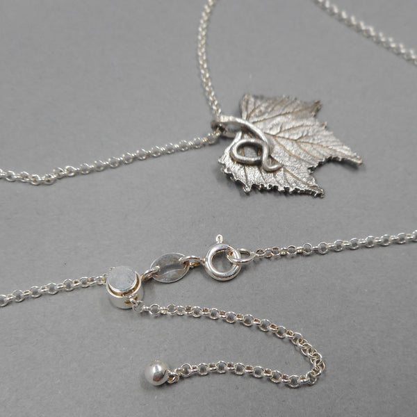 FIne Silver Grape Leaf Pendant on Sterling Silver Chain from PartsbyNC