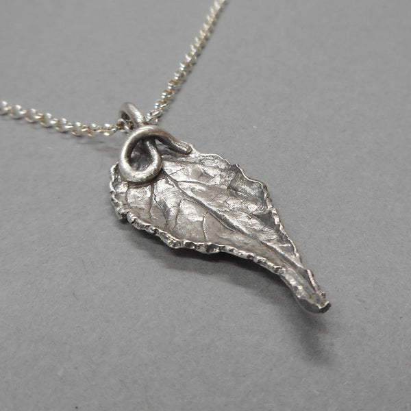 Botanical Leaf Pendant in Fine Silver