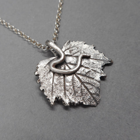 Fine Silver Grape Leaf Pendant from PartsbyNC