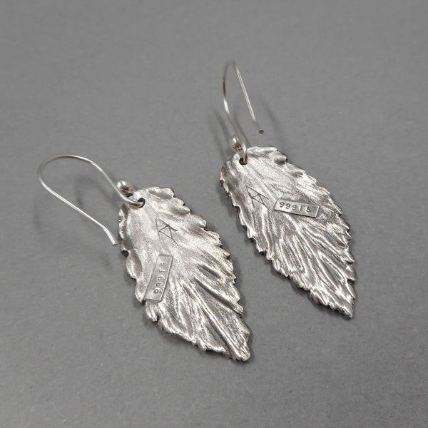 Unique .999 Fine Silver Mint Leaf Earrings from PartsbyNC