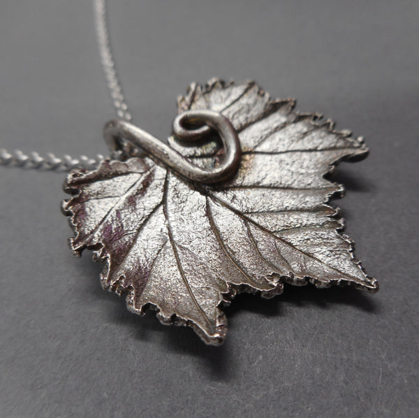 Fine Silver Pendant Made from Real Grape Leaf from PartsbyNC