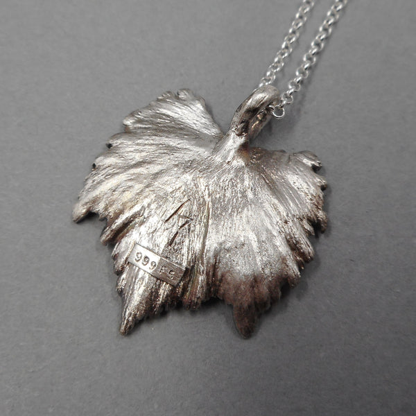 One of a Kind .999 Fine Silver Leaf Pendant from PartsbyNC