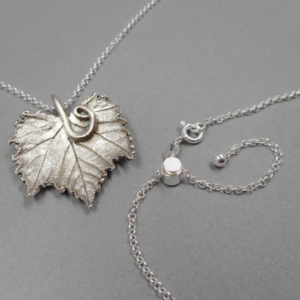 Fine SIlver Botanical Pendant on Sterling Silver Chain from PartsbyNC