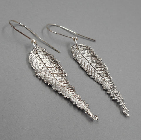 Walnut Leaf Earrings in Fine Silver