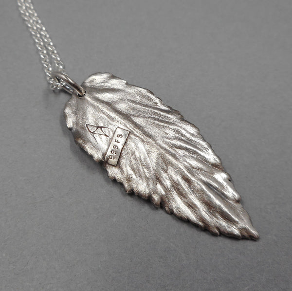 Back pf Fine Silver Leaf Pendant from PartsbyNC