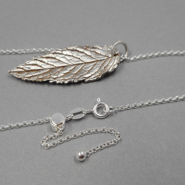 Fine Silver Mint Leaf Pendant in Adjustable Sterling Silver Chain from PartsbyNC