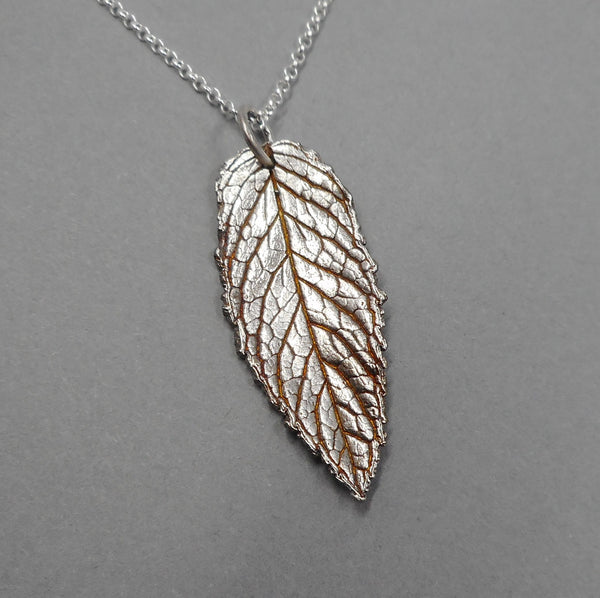 Fine Silver Real Leaf Mint Necklace from PartsbyNC