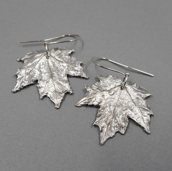 Maple Leaf Earrings in Fine Silver