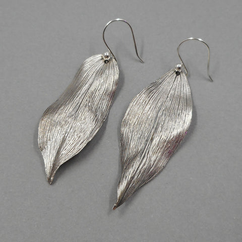 Solomon's Seal Leaf Earrings in Fine Silver