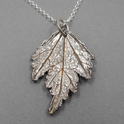 Fine Silver Rose of Sharon Leaf Pendant from PartsbyNC