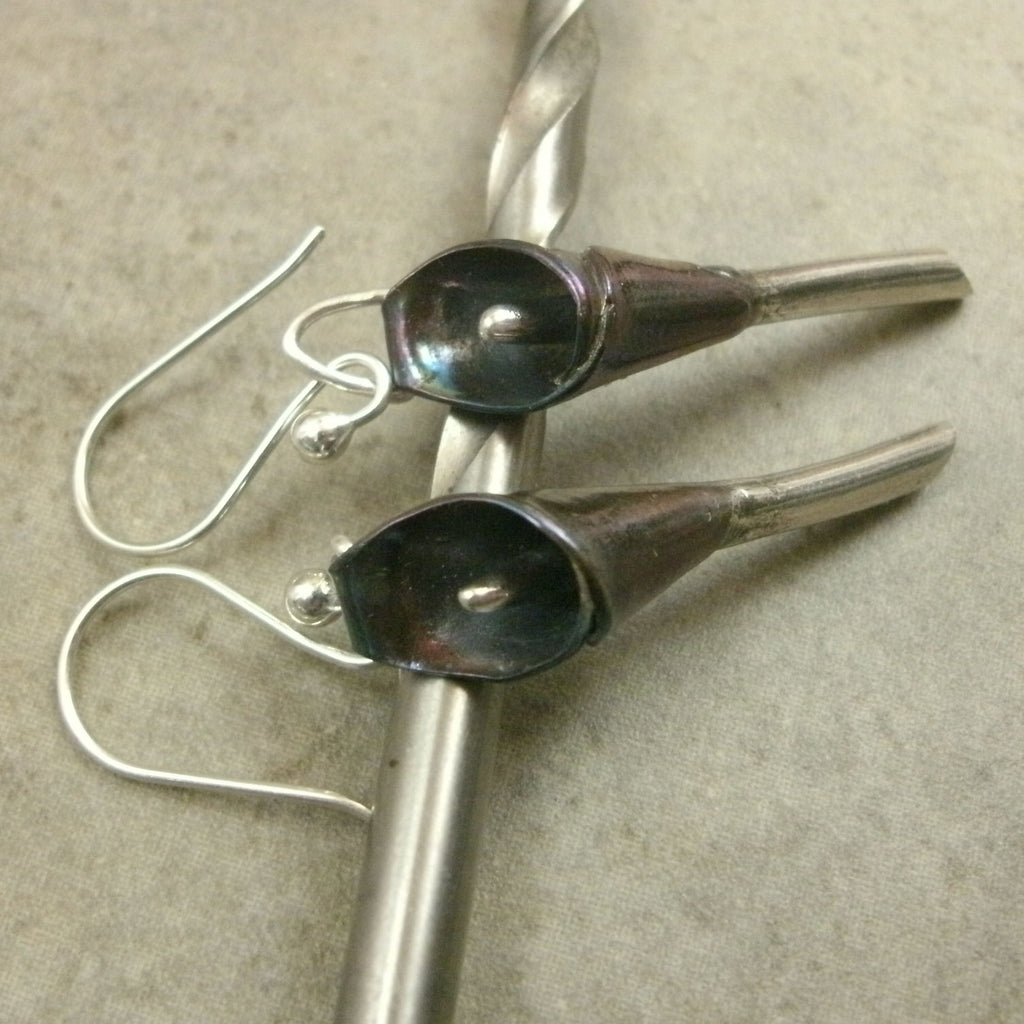 Calla Lily Earrings in Fine Silver - PartsbyNC Industrial Jewelry