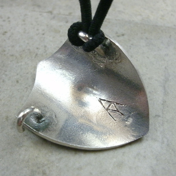 Shield with Rivets Ponytail Holder in Fine Silver