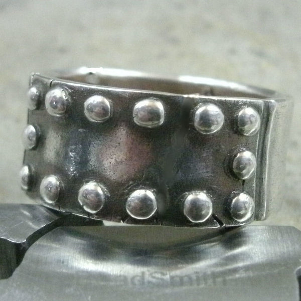Riveted Metal Plate Ring in Fine Silver - PartsbyNC Industrial Jewelry