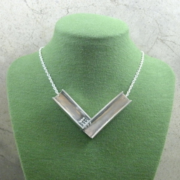 I-Beam Necklace in Sterling & Fine Silver