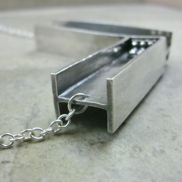I-Beam Necklace in Sterling & Fine Silver - PartsbyNC Industrial Jewelry