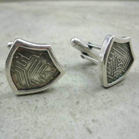 Cyber Shield Cufflinks in Sterling & Fine Silver from PartsbyNC