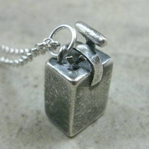 Blasting Box Pendant in Fine Silver - PartsbyNC Industrial Jewelry