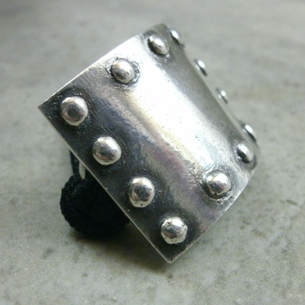 Signature Riveted Plate Ponytail Holder in Fine Silver - PartsbyNC Industrial Jewelry