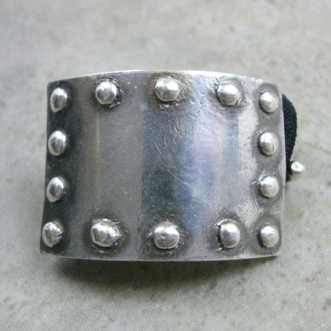Signature Riveted Plate Ponytail Holder in Fine Silver