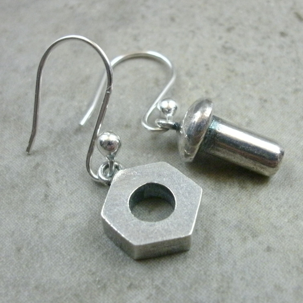 Nut & Bolt Earrings in Sterling Silver - PartsbyNC Industrial Jewelry
