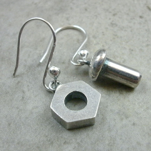 Nut & Bolt Earrings in Sterling Silver