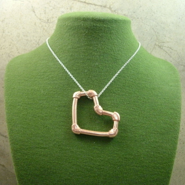 Copper Pipe Heart Pendant in Solid Copper - PartsbyNC Industrial Jewelry