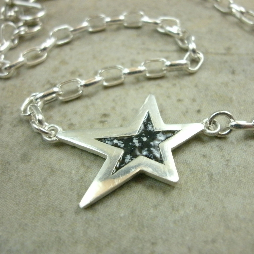 Enamel Star Anklet in Sterling & Fine Silver - PartsbyNC Industrial Jewelry