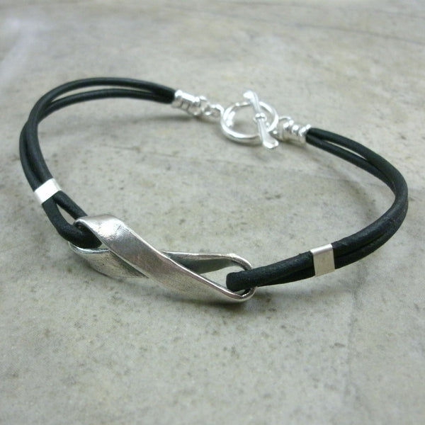 Infinity Symbol Möbius Strip Bracelet in Leather & Sterling Silver - PartsbyNC Industrial Jewelry
