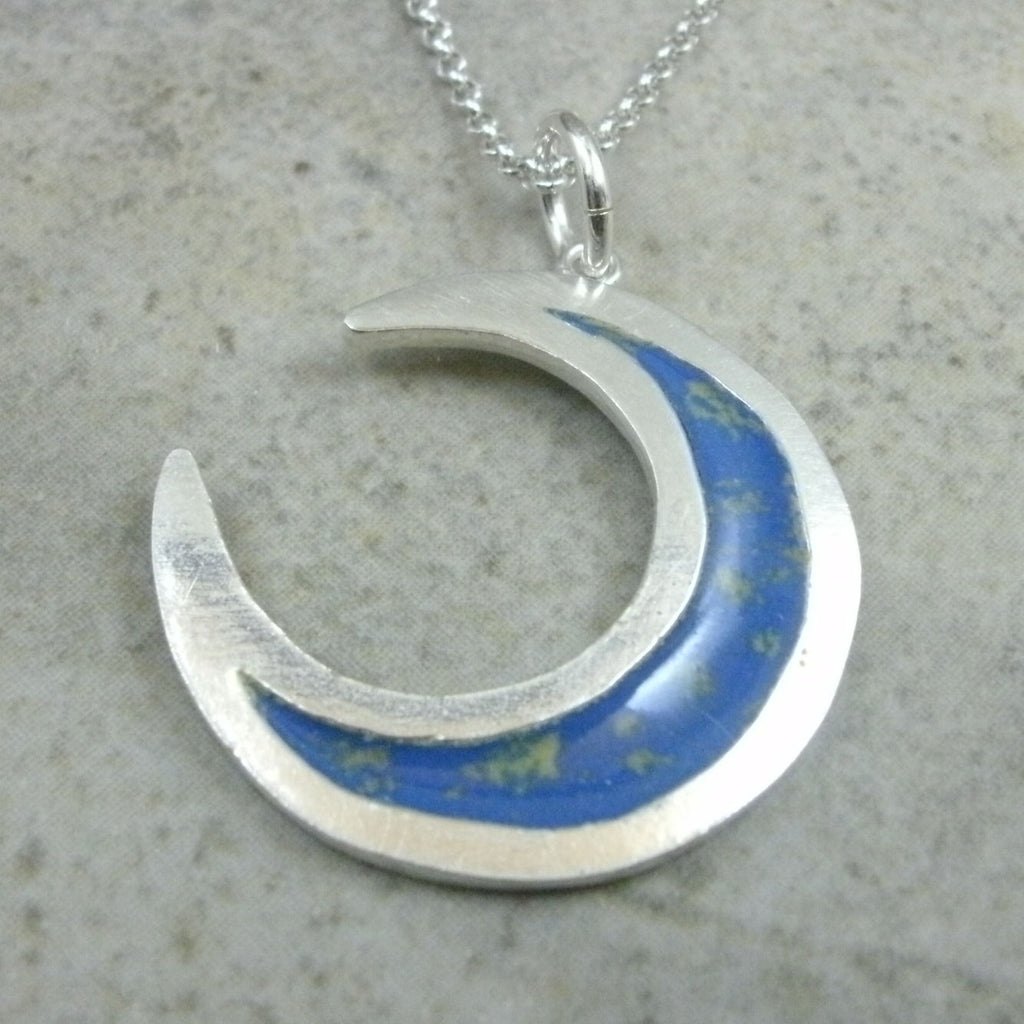 Crescent Moon Pendant in Fine Silver
