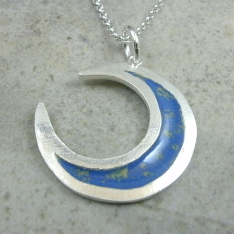 Crescent Moon Pendant in Fine Silver - PartsbyNC Industrial Jewelry