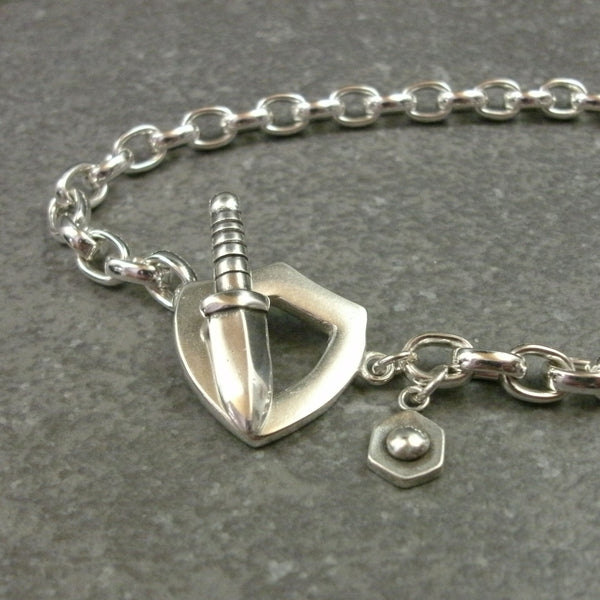 Sword and Shield Toggle Bracelet in Sterling Silver & 14k Green Gold