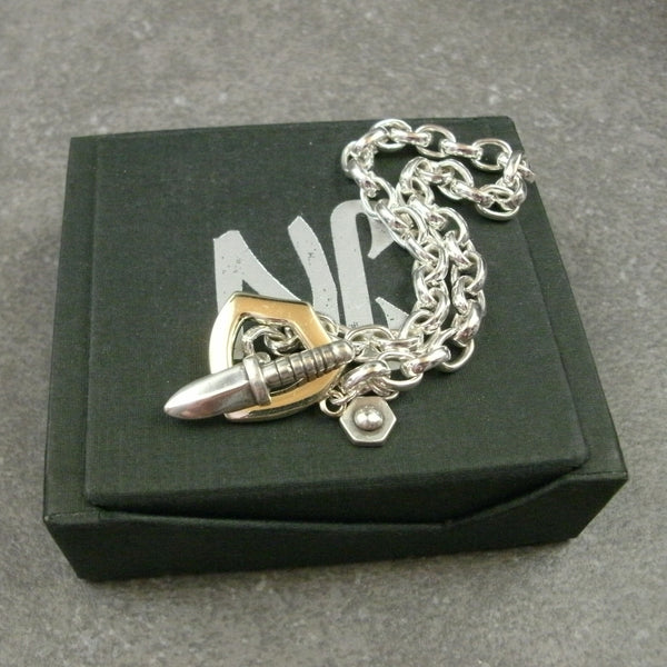 Sword and Shield Toggle Bracelet in Sterling Silver & 14k Green Gold - PartsbyNC Industrial Jewelry