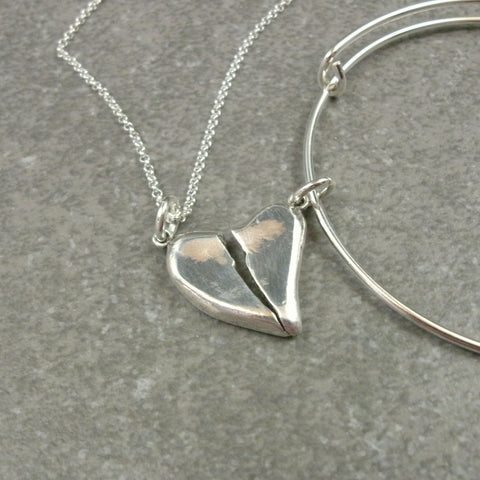Broken Heart Pendant Charms in Fine Silver - PartsbyNC Industrial Jewelry