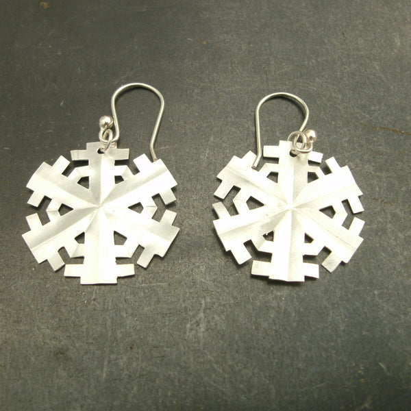 Paper Snowflake Earrings in Fine Silver - PartsbyNC Industrial Jewelry