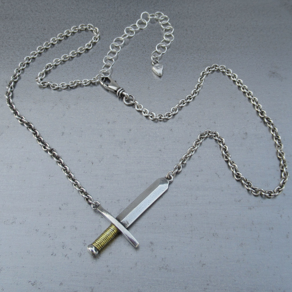 Sword Necklace in Fine Silver & 22k Gold - PartsbyNC Industrial Jewelry