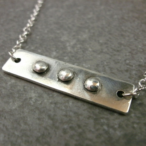 Bar with Rivets Necklace in Sterling & Fine Silver