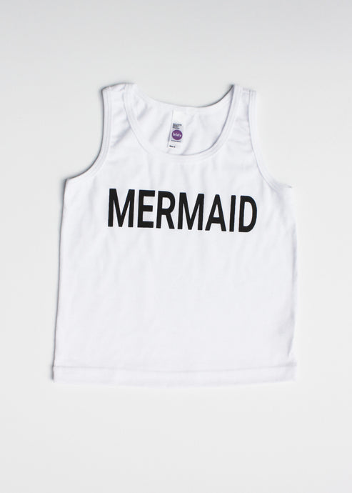 Girl's Mermaid Tank - White